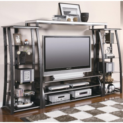 Coaster Entertainment Units Contemporary Metal and Glass Wall Unit