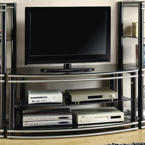 Coaster Entertainment Units Black & Silver Finish Curved TV Stand