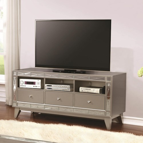 Coaster Entertainment Units Metallic TV Console with Mirrored Accent