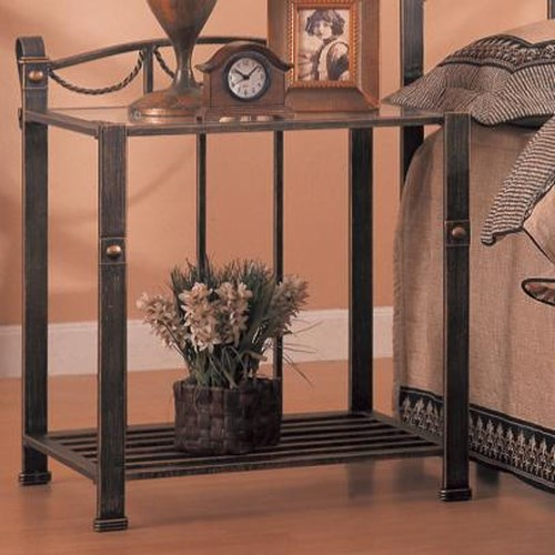 Coaster Georgia Casual Iron Nightstand with Shelf