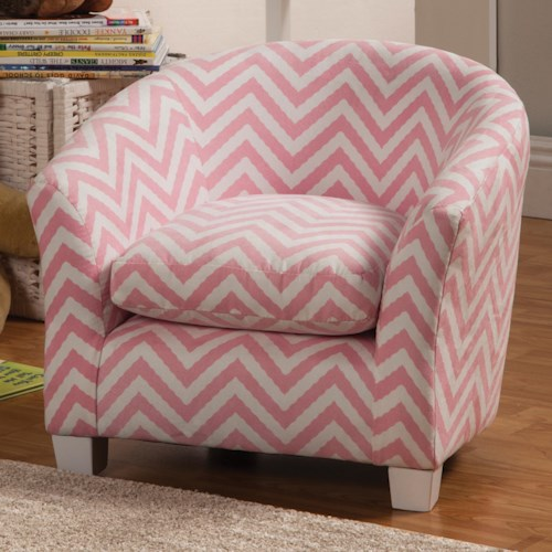 Coaster Youth Seating and Storage Kid's Chair in Pink Zig Zag