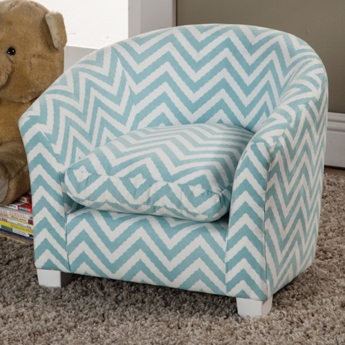 Coaster Youth Seating and Storage Kid's Chair in Baby Blue Zig Zag