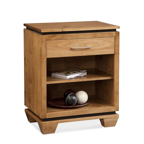 Conrad Grebel Binghamton Night Stand with 1 Drawer and 2 Shelves