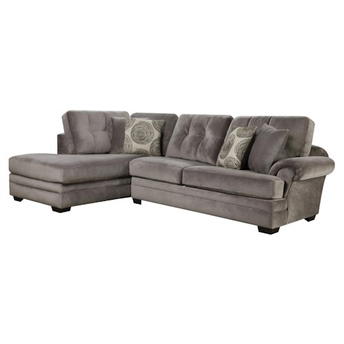 Corinthian 16B0 Small Sectional Sofa with Chaise (on Left Side)