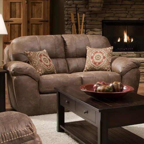 Corinthian Ulyses River Rock Casual Plush Loveseat