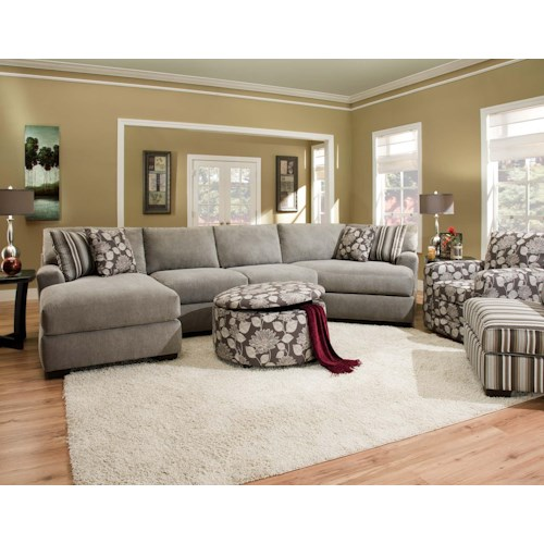 Sectional Sofas Birmingham Al: Corinthian 29A0 Sectional Sofa With 4 Seats