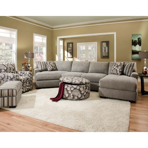 Corinthian 29A0 Sectional Sofa with 4 Seats