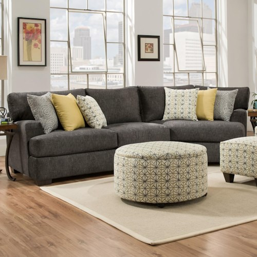 Corinthian 29C0 3 Seat Sectional with Piano Wedge