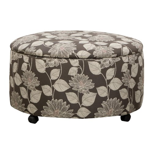 Corinthian 29A0 Lilly Fog Accent Round Storage Ottoman with Casters