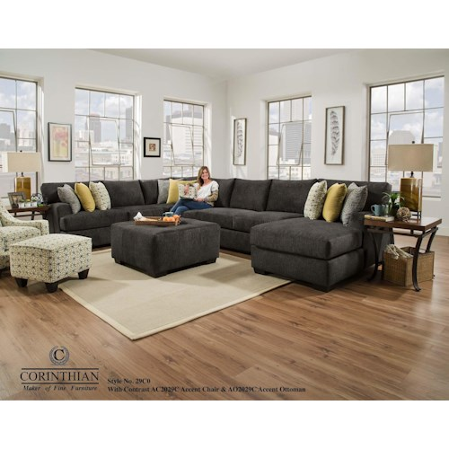 Corinthian 29C0 Alton 4 Piece Sectional with RSF Chaise