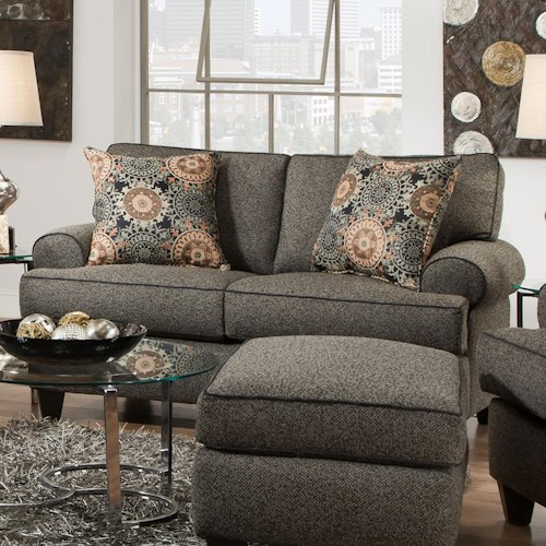 Corinthian 37A0 Comfortable Love Seat With Rolled Arms