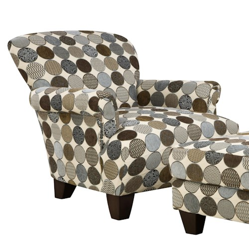 Corinthian 3850  Casual Contemporary Accent Chair with Tapered Wood Feet