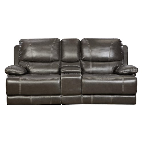 Corinthian 42801 Brooklyn Charcoal Leather Reclining Console Loveseat