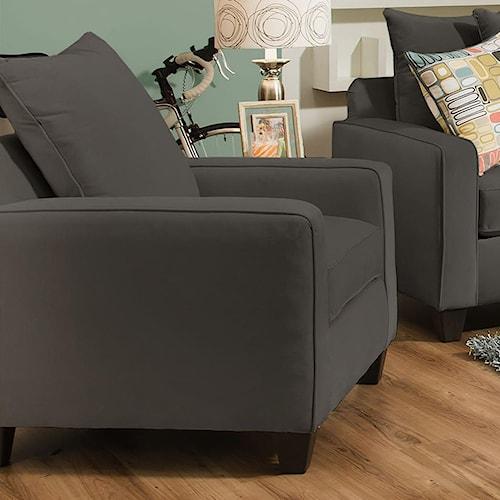 Corinthian 49A0 Casual Chair with Dark Wood Block Feet