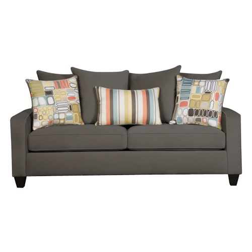 Corinthian 49A0 Casual Sofa with Dark Wood Block Feet