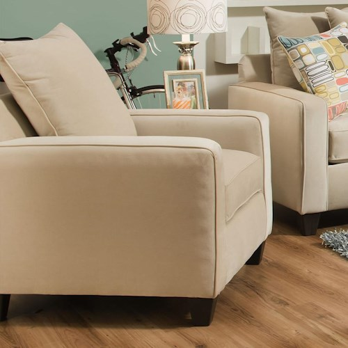 Corinthian 49B0 Casual Chair with Dark Wood Block Feet