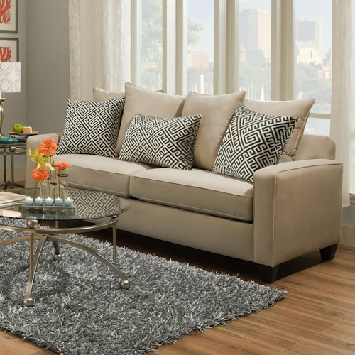 Corinthian 49D0 Casual Sofa with Dark Wood Block Feet