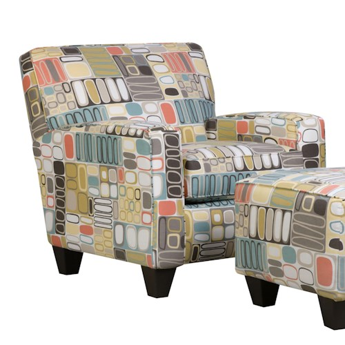 Corinthian 49A0 Contrasting Accent Chair and Ottoman Set with Dark Wood Block Feet