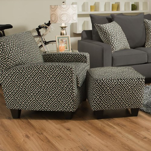Corinthian 49C0 Contrasting Accent Chair and Ottoman Set with Dark Wood Block Feet