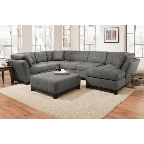 Corinthian Loxley Charcoal Right Side Facing Chaise Sectional