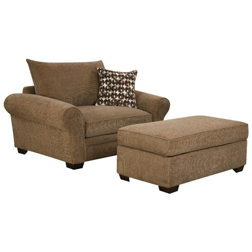 Corinthian 5460 Extra Large Chair and a Half & Ottoman Set for Casual Styled Living Room Comfort