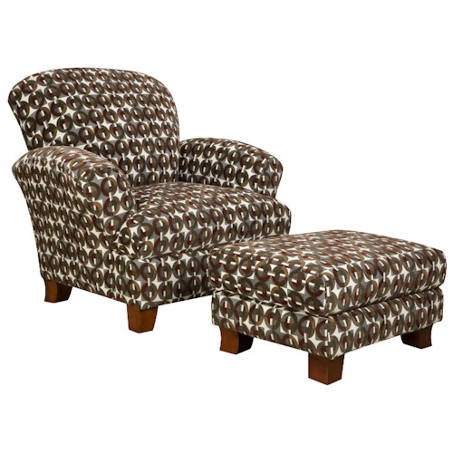 Corinthian 5460 Attractive Accent Chair & Ottoman with Smooth Simplistic Look in Casual Contemporary Style