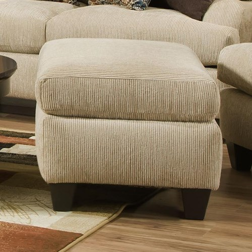 Corinthian 5510  Ottoman with Exposed Tapered Wood Legs
