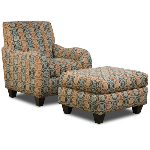 Corinthian 5510  Chair and Ottoman with Exposed Tapered Wood Feet