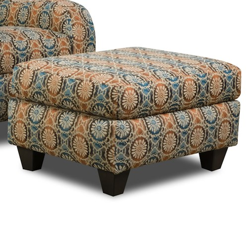 Corinthian 5510  Accent Ottoman with Exposed Tapered Wood Legs