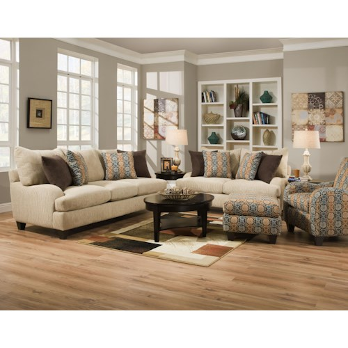 Corinthian 5510  Stationary Living Room Group with Exposed Tapered Wood Legs
