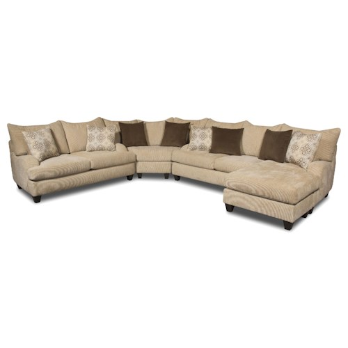Corinthian 5520 Sectional Sofa With Contemporary Style J