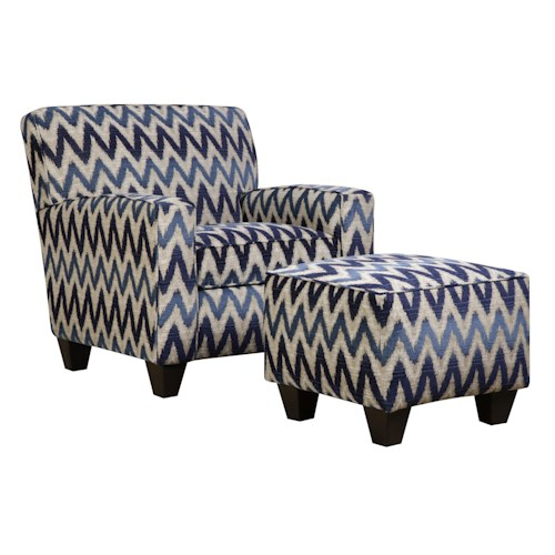 Corinthian 55A0 Casual Contemporary Accent Chair and Ottoman