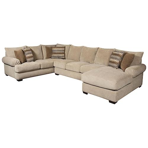 Corinthian 61A0  Bacarat Taupe 3 Piece Sofa Sectional