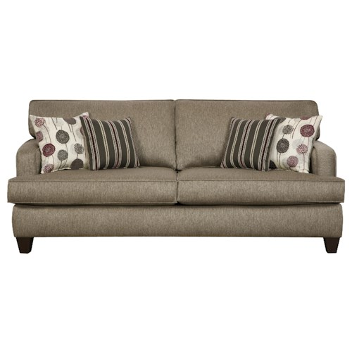Corinthian 6600 Contemporary Sofa with Thin Track Arms and Exposed Wood Legs in Urban Loft Style