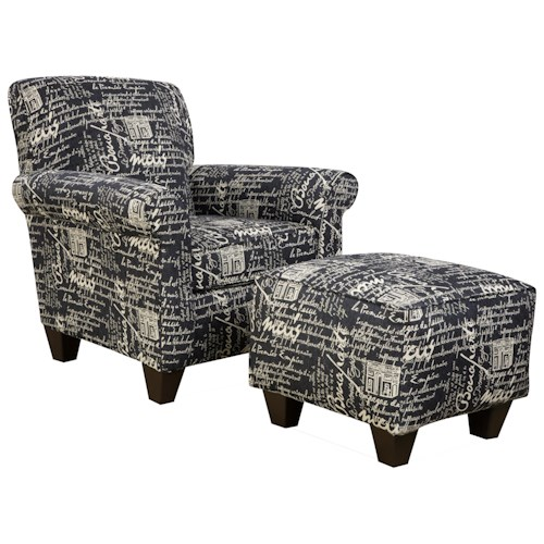 Corinthian 6610 Upholstered Chair and Ottoman Set with Decorative Casual Living Room Style