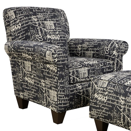 Corinthian 6610 Upholstered Accent Chair with Rounded Arms for Living Room Style