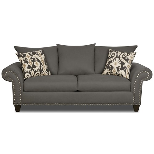 Corinthian 66D0 Sofa with Reversible Seat Cushions and Nail Head Trim