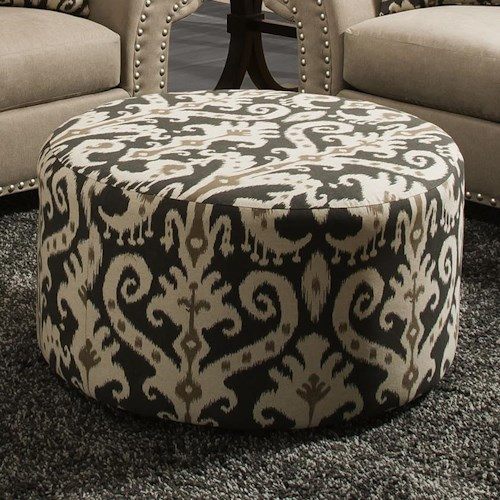 Corinthian 66E0 Round Accent Ottoman with Casters