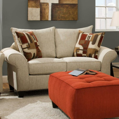 Corinthian 65A0 Casual Love Seat Sofa with Rolled Flare Arms and Knife Edge Cushions