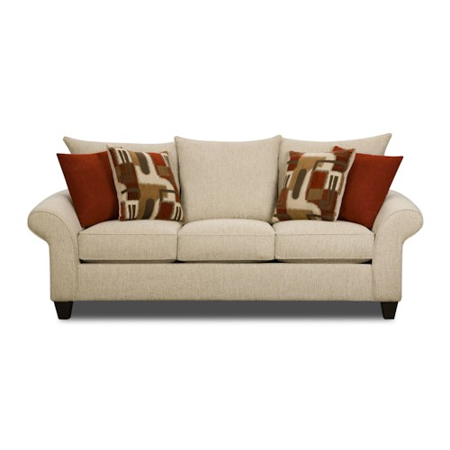 Corinthian 65a0 Casual Sofa With Rolled Flare Arms And