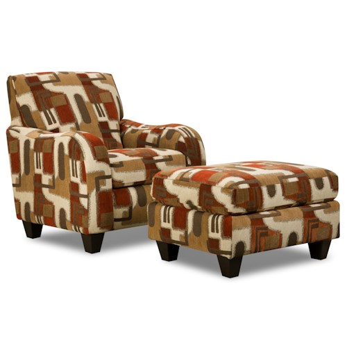 Corinthian 65A0 Casual Contemporary Accent Chair and Ottoman