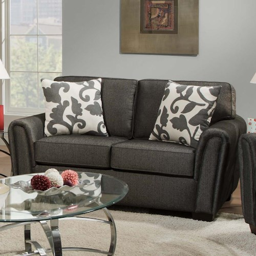 Corinthian 7300 Contemporary Loveseat with Tapered Roll Arms
