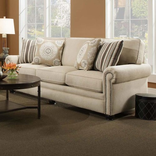 Corinthian 97a0 Traditional Sofa With Inwardly Concaving