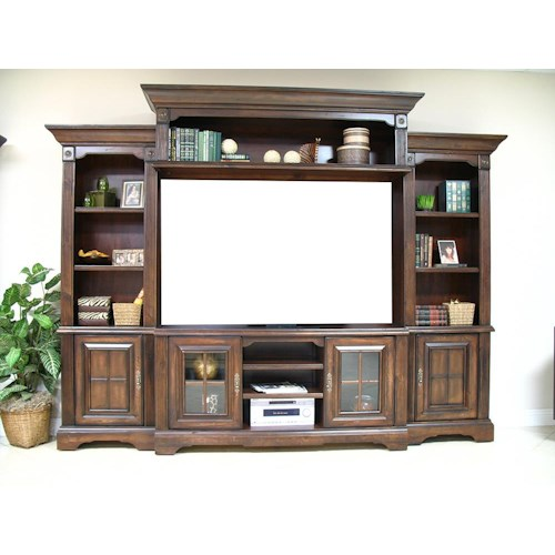 Coronado 7349 Cherry 4pc Wall Unit w No Back Panel