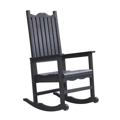 C.R. Plastic Products Adirondack - Black Porch Rocker