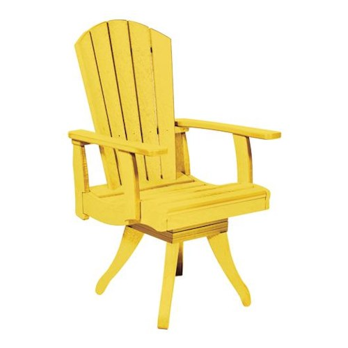 C.R. Plastic Products Adirondack - Yellow Swivel Dining Arm Chair