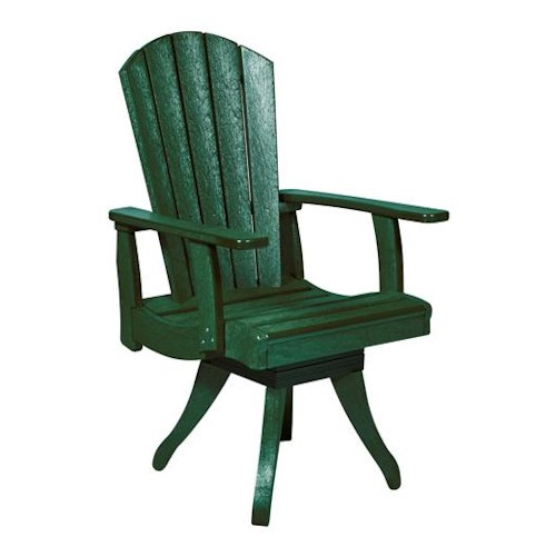 C.R. Plastic Products Adirondack - Green Swivel Dining Arm Chair