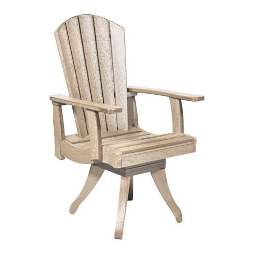 C.R. Plastic Products Adirondack - Beige Swivel Dining Arm Chair