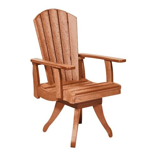 C.R. Plastic Products Adirondack - Cedar Swivel Dining Arm Chair