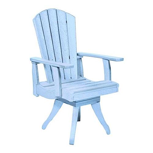 C.R. Plastic Products Adirondack - Sky Blue Swivel Dining Arm Chair